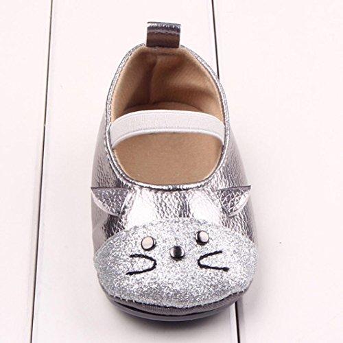 Ouneed® Krabbelschuhe , 0-18 Monate Neugeborenes Kind Kleinkind Baby Mädchen nette Katze Kleinkind Schuhe Silber