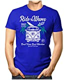 PRILANO Herren Fun T-Shirt - RIDE-THE-WAVES-BULLI - XL - Blau