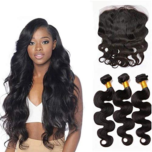 Brazilian Body Wave Virgin Hair 3 Bundles With Lace Frontal 13X4 Closure 100% Unprocessed Human Hair Remy Hair Extensions Natural Couleur 100G/Pcs(12 14 16 +10 Frontal)