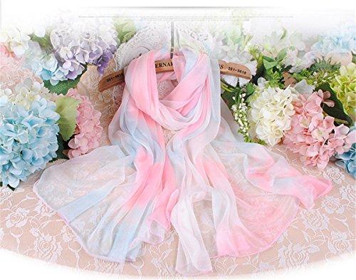 DYEWD Schals,Damenschals, Sommerschals am Meer, große Strandtuchschals, atmungsaktive Schals, farbige Bedruckte Schals, Sonnencreme-Schals, Geschenk-Seidenschals, pink blau 180 * 70cm