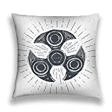 Taies d'oreillers Throw Pillow Cover Pillowcase spinner vintage label hand drawn sketch grunge textured retro badge typography design print spinner Sofa Home Decorative Cushion Case 18'x18'