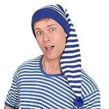 NET TOYS Gestreifte Schlafmütze für Damen & Herren | Blau-Weiß | Verträumte Unisex-Kopfbedeckung Schnarchnase geeignet für Nachthemdenball & Karneval