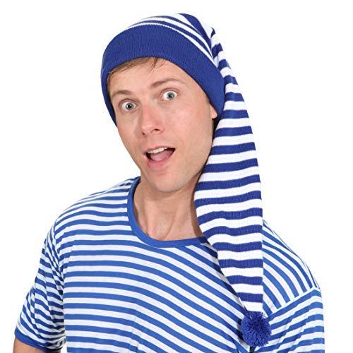 Nachthemdenball Kostüm - NET TOYS Gestreifte Schlafmütze für Damen