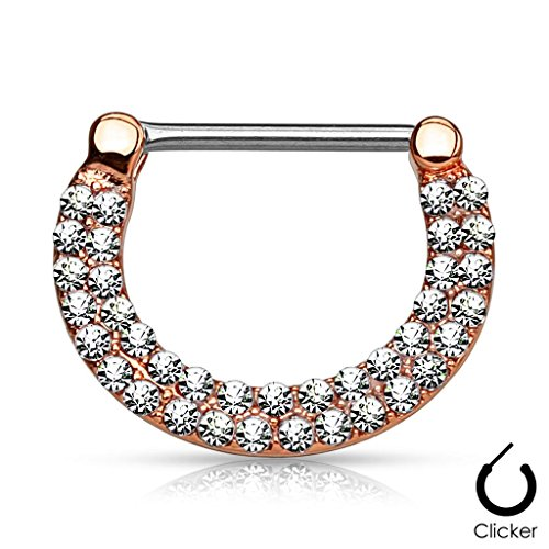 Piercing poitrine clickers double ligne en acier chirurgical 316L - Taille: 1.6 mm x 12 mm Rose Or/Clair