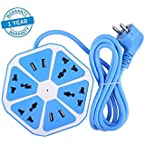 Azacus Hexagon Shape Socket Extension Board With 4 USB 2.0Amp Charging Points 6 Socket Surge Protector