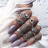 Oyedens 11pcs/Set Women Bohemian Vintage Silver Stack Rings Above Knuckle Rings Set (Silver)