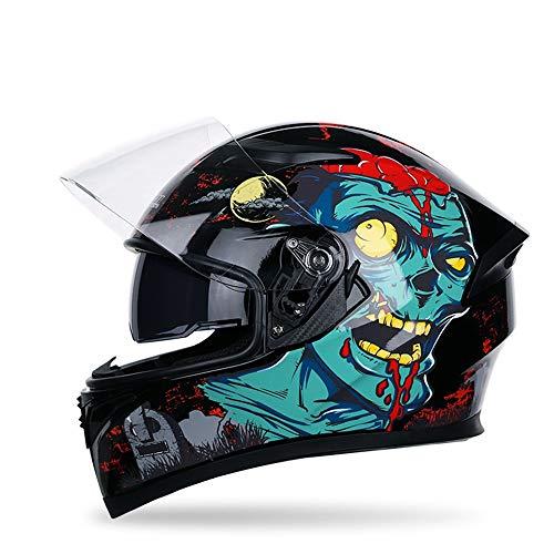QFQ motorcycle helmet Motorrad Lokomotive Racing Helm Helme Männer und Frauen bedeckt Integralhelm Doppelscheibe Motorradfahren Schutzhelm (Edition : A, Size : XXL)