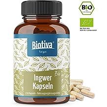 BIO Ingwer Kapseln (150 Stück) - 400 mg pro Kapsel - garantiert ohne Zusätze - Gingerole & Shogaole - 100% Vegan - Hergestellt und kontrolliert in Deutschland (DE-ÖKO-005)