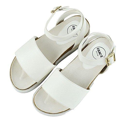 ESSEX GLAM Donna Piattaforma Cinghietti Peep Toe Sintetico Tacco a Cuneo Sandalo Bianco Pelle Sintetica