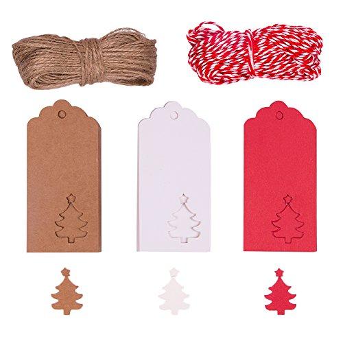 Vitasemcepli 100 pezzi bigliettini di carta di kraft da personalizzare con la corda della canapa etichette particolari per il fai da te segnaposti matrimonio natale auguri regali (albero natalizio)