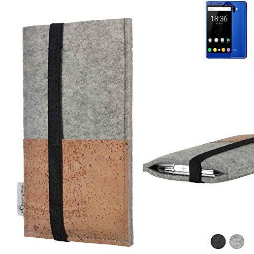 flat.design Handy Hülle Sintra für Oukitel K8000 Handytasche Filz Tasche Schutz Kartenfach Case Kork