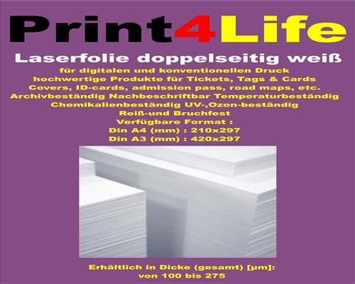 for inkjet printers with back paper cover For pasting of solid Inkjet self-adhesive vinyl film 10 sheets A3 white matte PVC self-adhesive film smooth surfaces 0.100 mm Universally applicable for indoor and short term outdoor applications