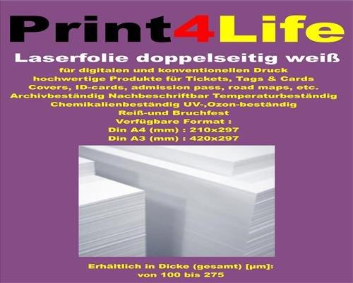 Matrix-epson-tinte (10 Blatt DIN A4 150g /m² REIßFESTE Farblaser - Laserdrucker + Kopierer Opak weiße Polyester-Folie Präsentationsfolie doppelseitig 125my WEIß DuraCopy)