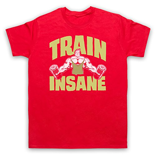 Train Insane Gym Workout Slogan Herren T-Shirt Rot