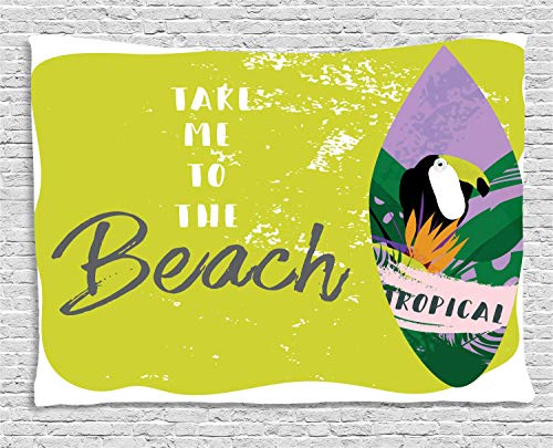 VTXWL Beach Quote Tapestry, Take Me to The Beach Phrase Strelizia Flower Palm Leaves and Tropic Toucan Bird, Wall Hanging for Bedroom Living Room Dorm, 80 W X 60 L Inches, Multicolor