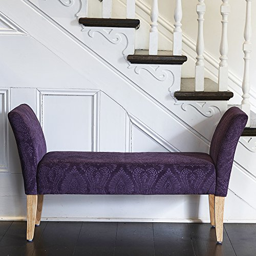 patterned-upholstered-bench-with-arms-in-plum