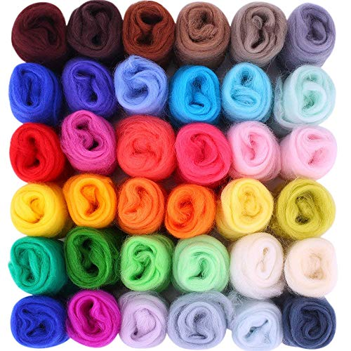 Amasawa Filzwolle Märchenwolle 36 Farben Filzwolle Set Märchenwolle Filznadeln Werkzeug Märchenwolle Anfänger Set für Nadel Filz DIY Handwerk(36 Farben 3g/Farben) -