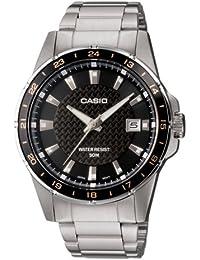 Casio - MTP-1290D-1A2VEF - Montre Homme - Quartz Analogique - Cadran en Noir - Bracelet en Acier - Dateur