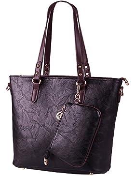 (G-AVERIL) Frauen Dame Leder Tasche Handtasche Schultertasche+Geldbörse