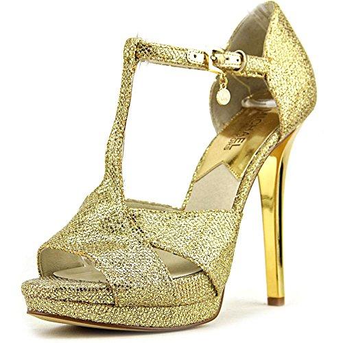 Michael Michael Kors Diana T-Strap Donna US 9 Oro Tacchi Alti