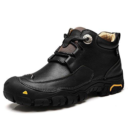 Uomini Tooling Caviglia Stivali Autunno Inverno Tempo libero fatto a mano morbido Pelle Scarpe Nero Marrone Allaperto Antiscivolo Grande Dimensione Black
