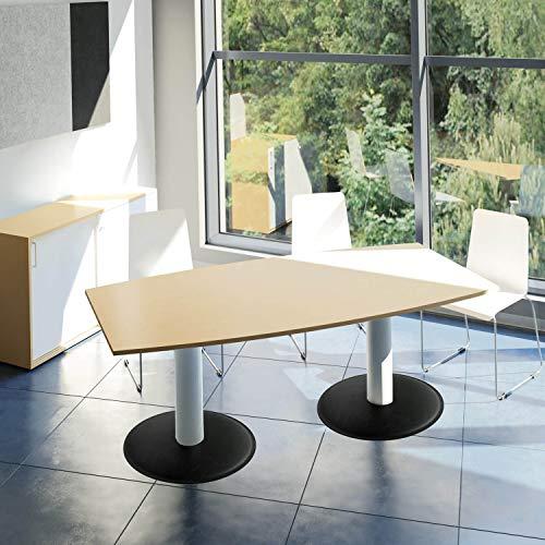 WeberBÜRO Optima Konferenztisch Bootsform 200x100 cm Besprechungstisch Buche Tisch Esstisch Küchentisch