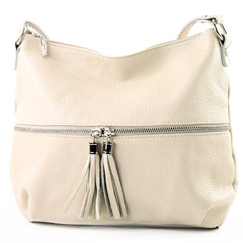 modamoda de - ital. Ledertasche Damentasche Umhängetasche Tasche Schultertasche Leder T159, Präzise Farbe:Creme (Elfenbein Handtasche Leder Tasche)