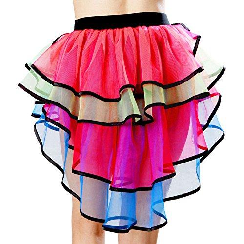 Brawdress Mode Dame Bunter Minirock, Bühnentanz Weihnachtskostüm | Ballett Tutu Ausgefallene Mesh Röcke (Kleine Rote Henne Kostüm)