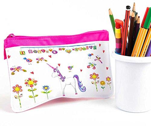 Unicorn Étui à crayons, Trousse fille, rose enfant Étui à crayons, Trousse