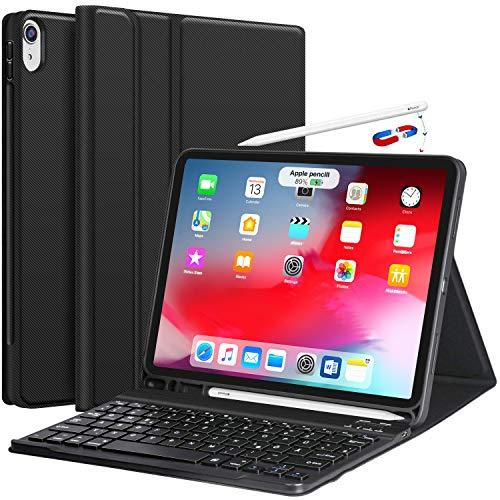 Earto Bluetooth Tastatur Hülle für Apple iPad Pro (Neu) 11 Zoll - Abnehmbare Kabellose Keyboard Ultra Dünne PU-Leder Case Standfunktion mit Stifthalter [DEUTSCHES QWERTZ ]