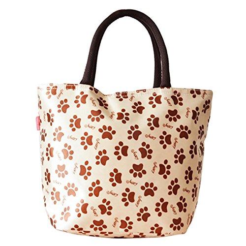 Tininna borsa pranzo, thermal insulation tote bag lunch bag, borsa porta pranzo, impermeabile borsetta bella borsa in tessuto poliestere stampa pranzo al sacco pranzo picnic sacchetto(beige)