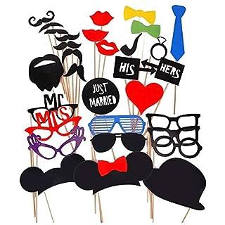 Ama-ZODE 31pcs DIY Masken Photo Booth Props Schnurrbart auf einem Stock für Hochzeits-Geburtstagsfeier-