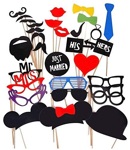 Ama-ZODE 31pcs DIY Masken Photo Booth Props Schnurrbart auf einem Stock für ()