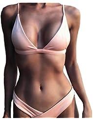 Mujers Bikini Amlaiworld Mujeres push-up sujetador acolchado halter bikini Beach set (Rosa, M)