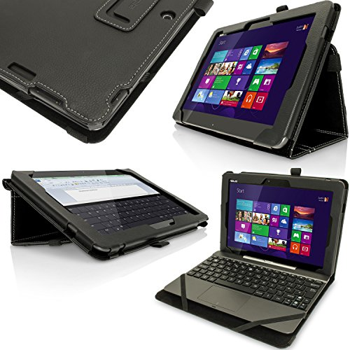 "igadgitz Premium Folio Noir PU Cuir Etui Housse Case Cover pour Asus Transformer Pad TF103C 10.1"" avec Support Multi-Angles + Support pour le Stylet + Film de Protection"