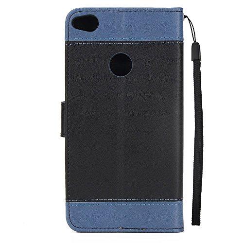 EKINHUI Case Cover Gemischte Farben Rose Blume matt Premium PU Leder Brieftasche Stand Case Cover mit Lanyard & Card Slots für Huawei P8 Lite 2017 ( Color : Blue ) Black