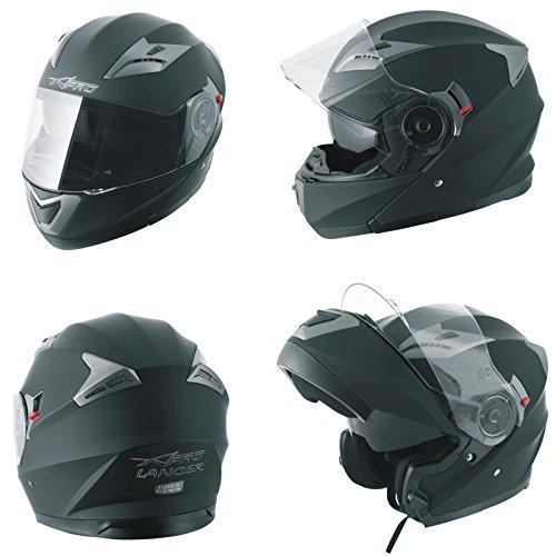 Casco Modulare Apribile Moto Touring Sport Visiera Parasole Nero Opaco L