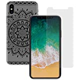 yayago 2in1 Set, Panzerglas 0 26 MM Displayschutzfolie für Apple iPhone X Glasfolie Hartglas 9H + yayago Schutzhülle für Apple iPhone X Hülle Tribal Ornament Motiv Tattoo Design Transparent