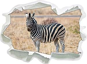 Zebra in erba selvatica, formato adesivo carta da parati 3D: 92x67 cm decorazione della parete 3D Wall Stickers parete decalcomanie