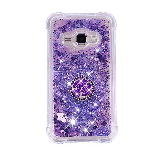 FNBK Kompatibel mit Samsung Galaxy J1 (2016) / J120 Hülle,Silikon Glitzer Bling Strass Quicksand Diamant Tasche [360 Grad Ring Ständer] TPU Klar Handyhülle Case für Galaxy J1 (2016) /J120, Lila
