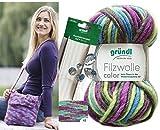 10x50 Gramm Gründl Filzwolle Color Wolle SB-Pack Wollset inkl. Anleitung/Rundstricknadel für Filztasche/Filz Tasche mit Blume + 2 Strasssteine (42 Lila Blau Grün)