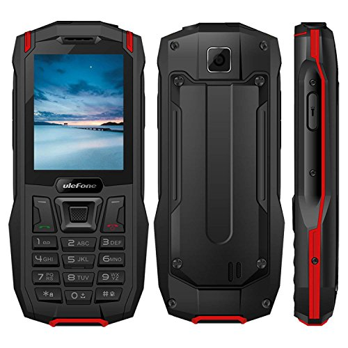 "Outdoor Handy Ohne Vertrag, 2018 Ulefone Armor Mini 2G GSM 2.4"" QVGA,240*320, IP68 Wasserdicht Stoßfest Staubdicht, MTK6261D 32MB RAM+32MB ROM Dual SIM Dual Standby 2500mAh 0.3MP LED Taschenlampe Headset-frei FM Radio Rugged Phone für Senioren und Adventures(Rot)"