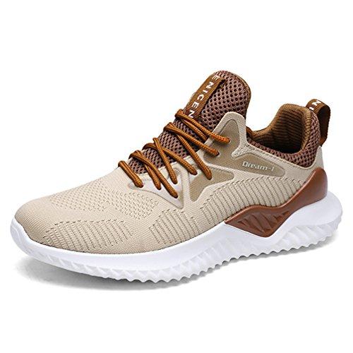 UBFEN Zapatillas de Running Padel para Hombres Zapatos Deportivas Gimnasio Correr Deportes de Exterior y Interior Fitness Casual Sneakers EU 41 A Marrón