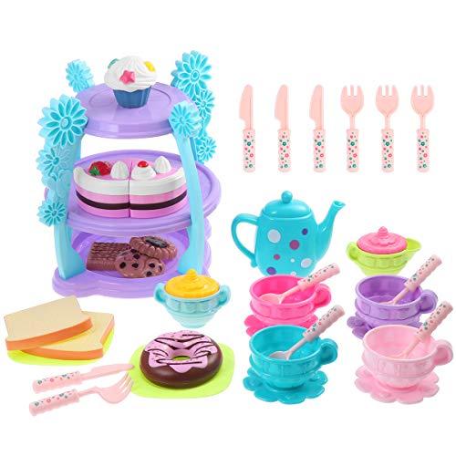 iBaseToy Kinder Teeservice 35 Stück - Tee Set Küche Spielzeug Rollenspiele für Kinder Mädchen, Kaffeeservice Teeset mit Kuchen, Cupcake, Tortenständer und mehr