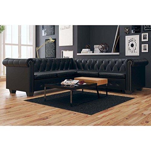SENLUOWX Chesterfield Sofa 5-Sitzer Kunstleder Schwarz
