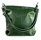 Ital Echt Leder Damentasche Handtasche Shopper Schultertasche (grün)