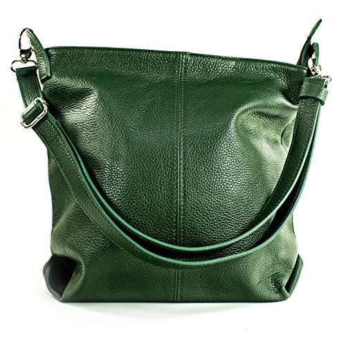 Ital Echt Leder Damentasche Handtasche Shopper Schultertasche (grün) -