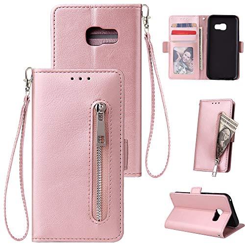 HUDDU Kompatibel mit Handyhülle für Samsung Galaxy A3 2017 A320 Hülle Leder Wallet Schutzhülle Kartenfächer Reißverschluss Brieftasche Magnetverschluss Filp Tasche PU Case Ständer Wristlet Rose Gold -