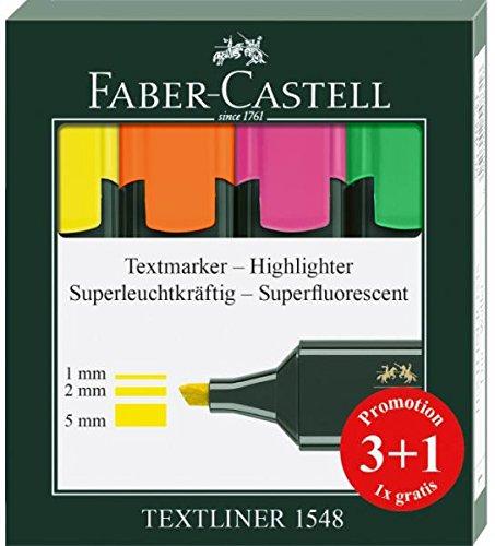 Rotuladores Fluorescentes Faber Castell, Caja x 3 + 1 Gratis