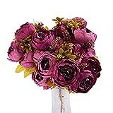 Beiguoxia réaliste Superbe Fleur artificielle 1Bouquet 13Têtes Pivoine artificielle fleur en soie fête de mariage Décoration de la Maison–Violet violet